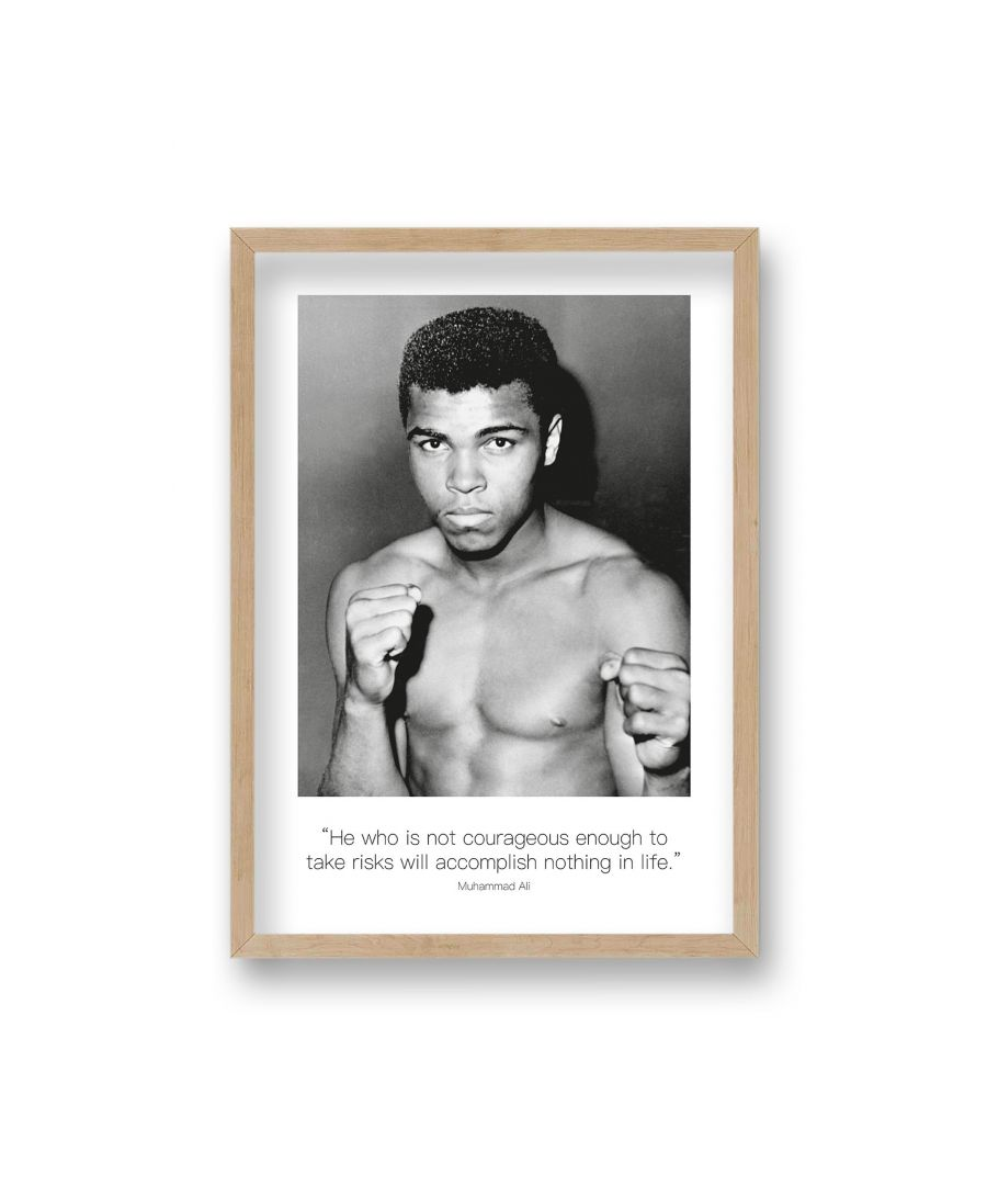 Image for Polaroid Style B&W Icon Print Ali He Who is Not Courageous Enough Non Dated - Oak Frame