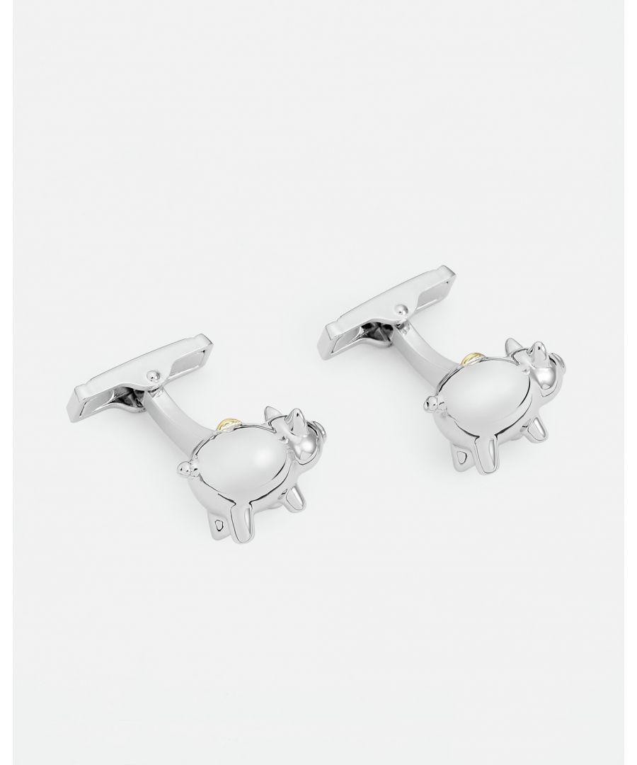 Image for Ted Baker Oinks Piggy Bank Cufflinks, Silver