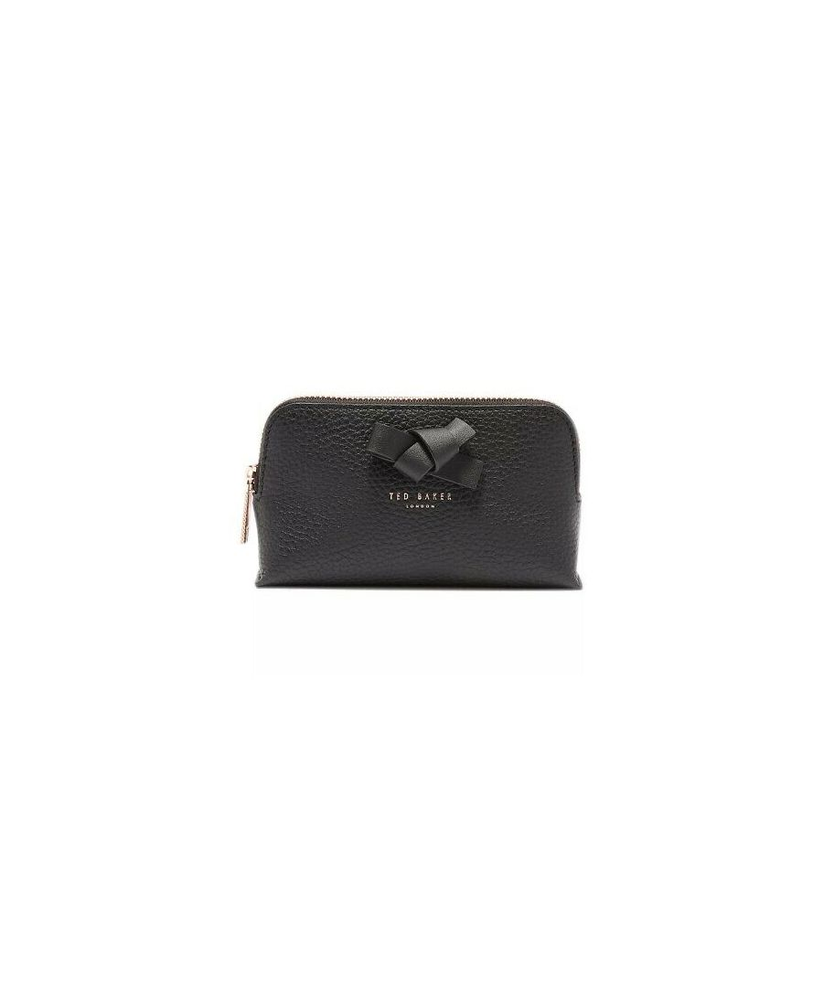 Image for Ted Baker Omrima Knot Bow Leather Washbag, Black