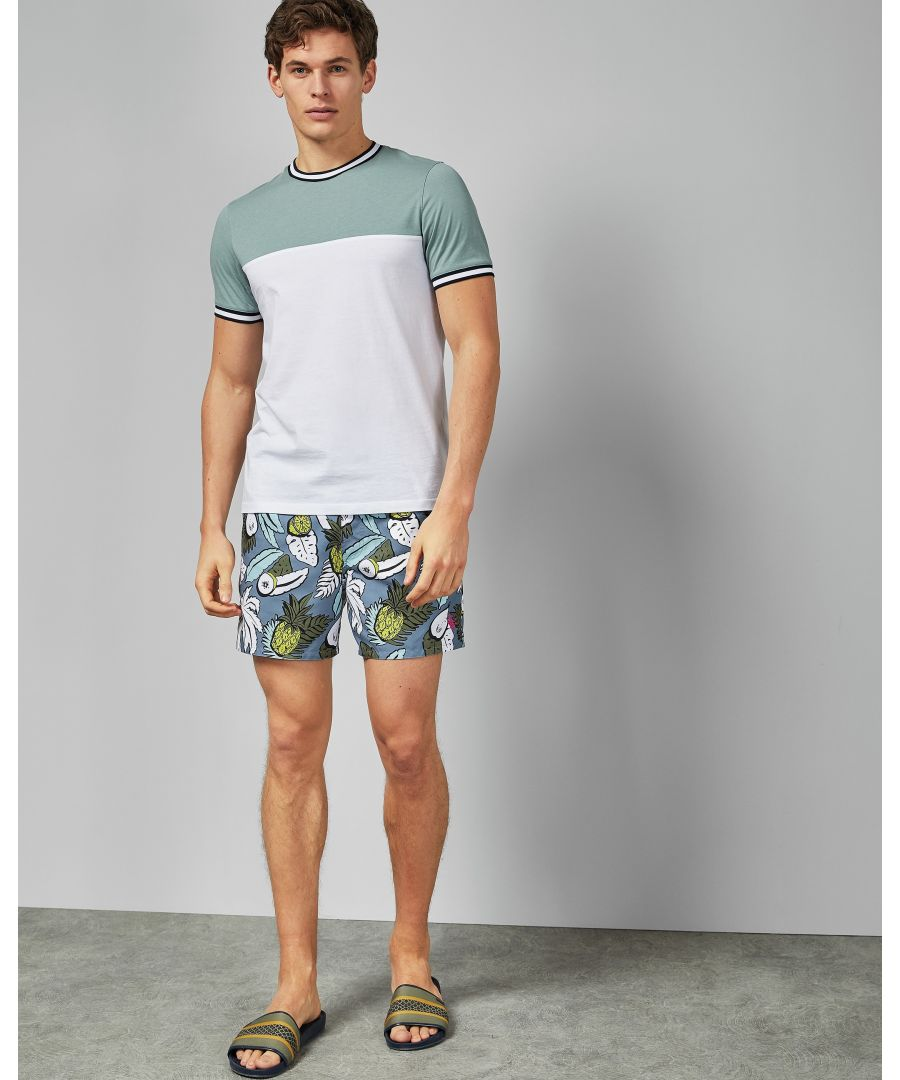 Image for Ted Baker Orca Tropical Print Swim Short, Mid Blue