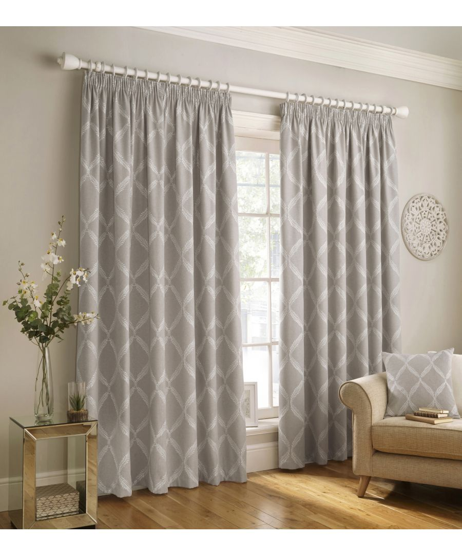 Image for Olivia Embroidered Pencil Pleat Curtains in Grey