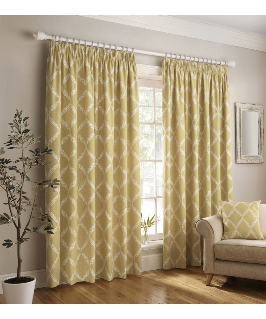 Image for Olivia Embroidered Pencil Pleat Curtains in Citrine