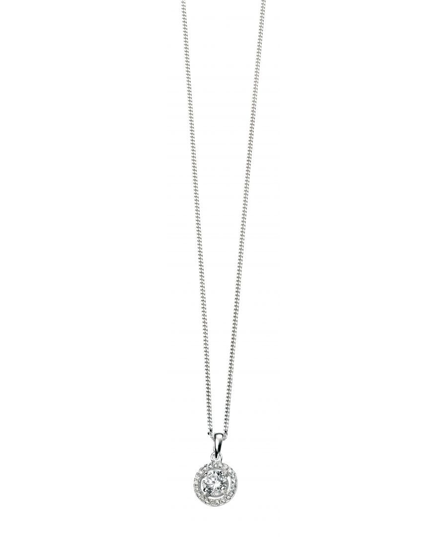 Image for Elements Sterling Silver Ladies Pave Disc Pendant with Clear Round CZ of 41-46cm