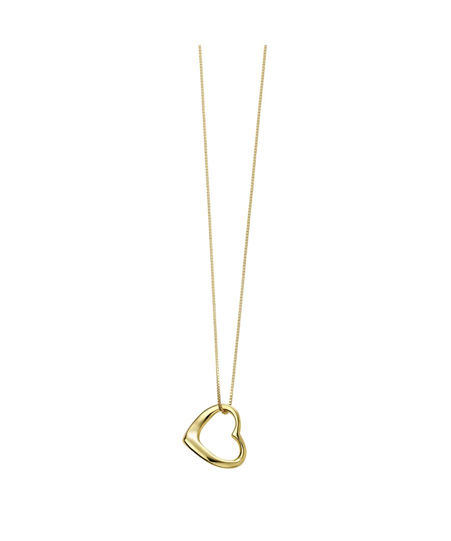 Image for Beginnings Ladies'  925 Sterling Silver Gold Plated Open Heart Pendant Necklace of Length 41-46cm