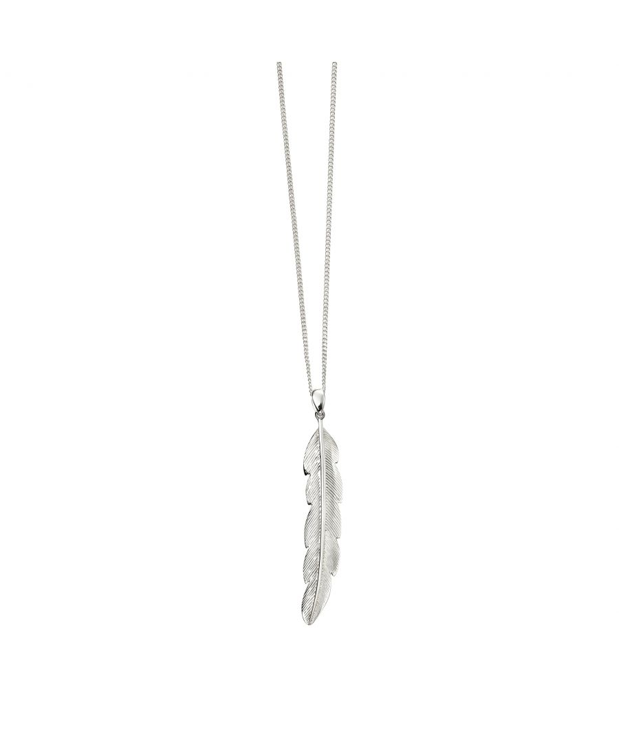 Image for Beginnings Ladies' 925 Sterling Silver Large Feather Pendant Necklace of Length 51-56cm
