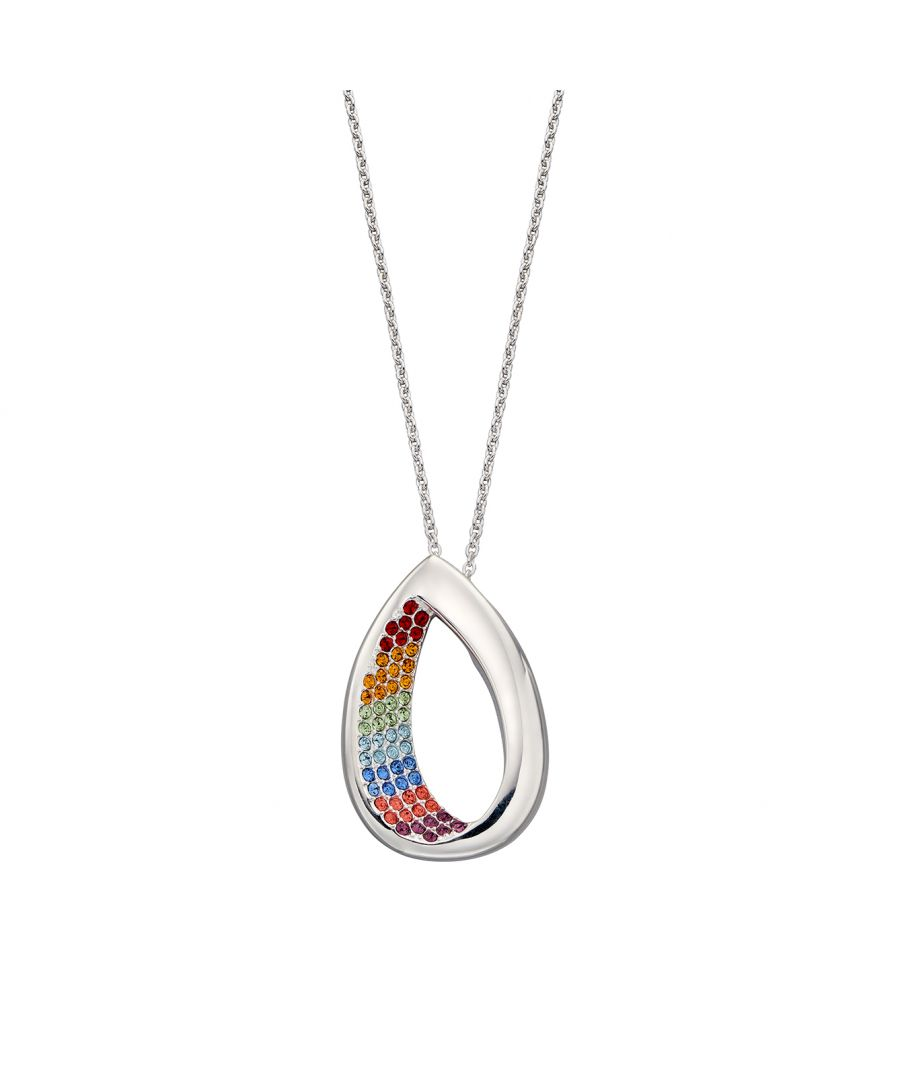 Image for Elements Silver Womens 925 Sterling Silver Open Teardrop Rainbow Crystal by Swarovski® Pendant Necklace Length 46cm