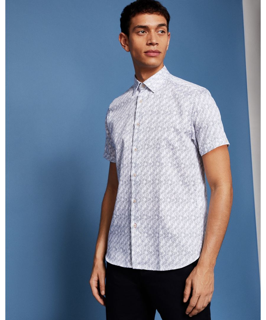 Image for Ted Baker Palmgoo Short-Sleeved Palm Leaf Line Print Shirt, White