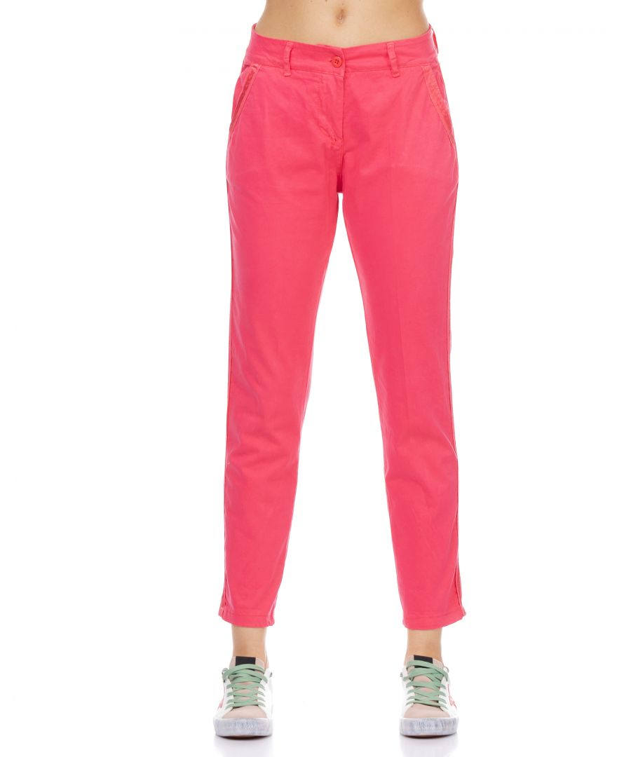 Image for Elastic pants with back and front pockets and side ribbon detail