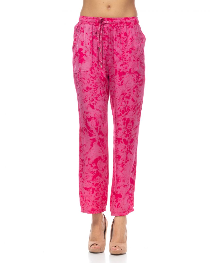 Image for Leaf print trousers with elastic waist and pockets