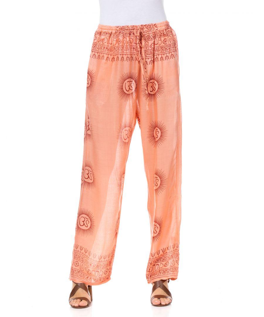 Image for Ethnic print pants with elastic waist