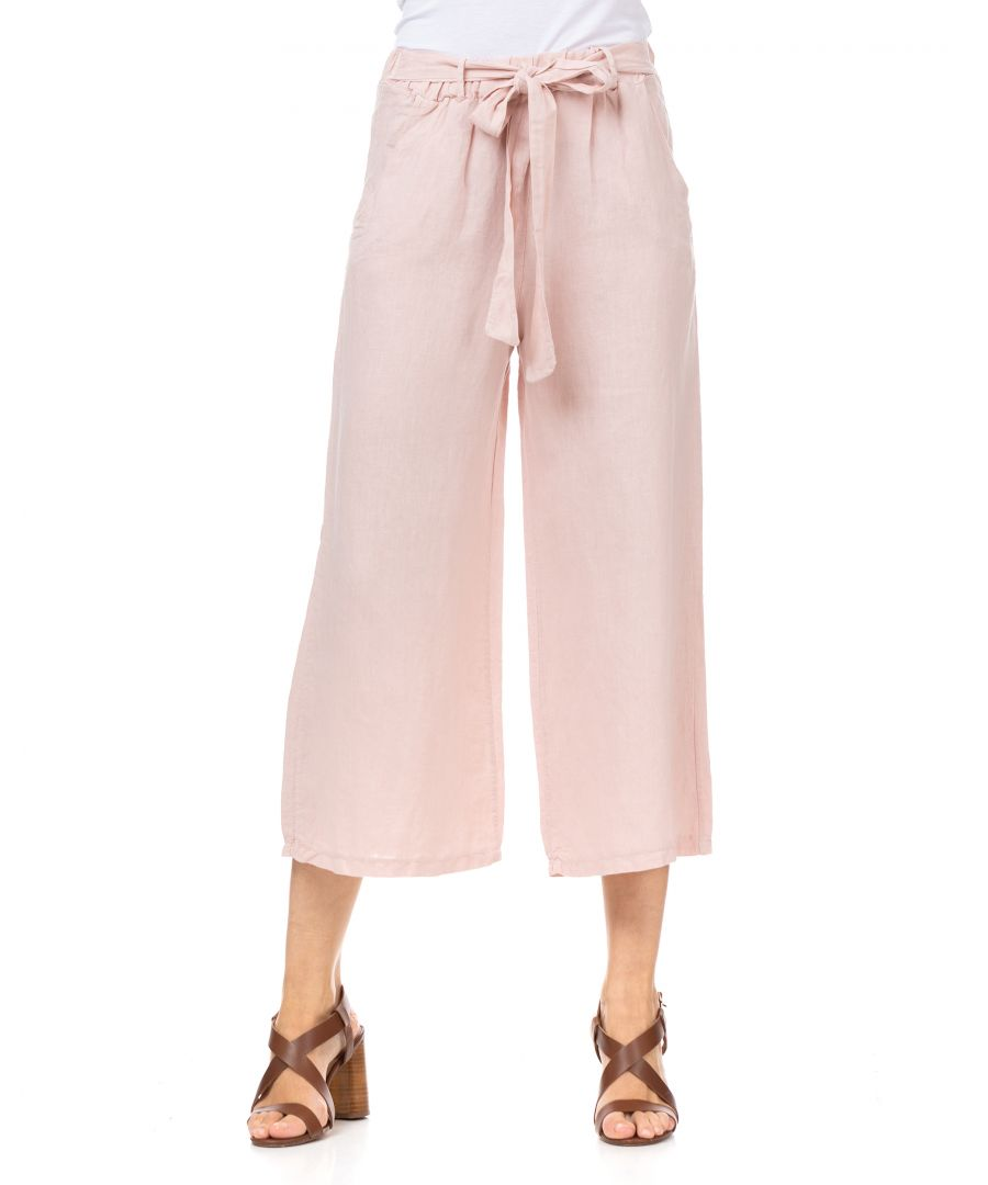 Image for Wide linen cropped pants
