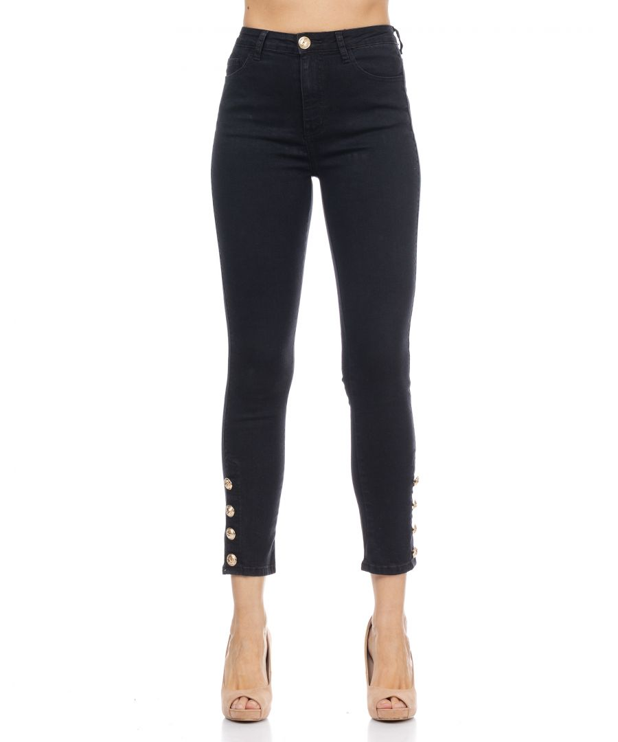 Image for Denim Skinny Pants With Gold Buttons
