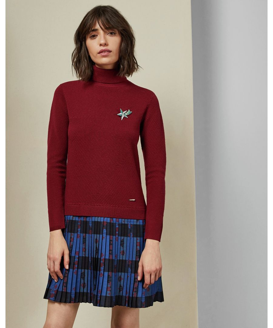 Image for Ted Baker Paraz Cbn Knit Woven Robot Check Dress, Dark Red