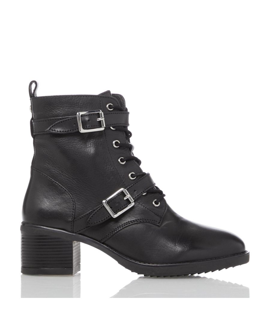 Image for Dune Ladies PAXTONE 2 Buckle Detail Heeled Hiker Ankle Boots