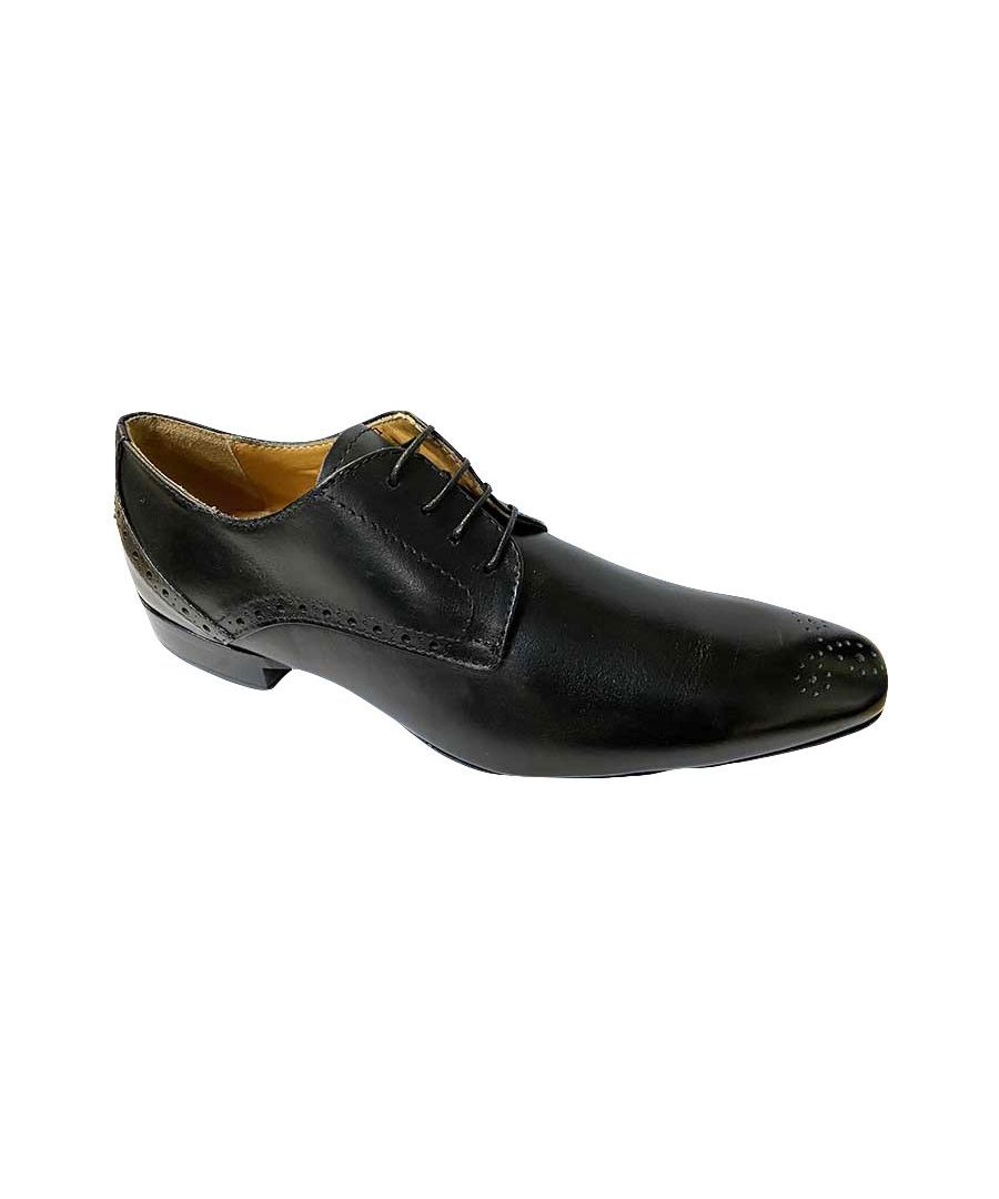 Image for Perino Black Derby Shoe