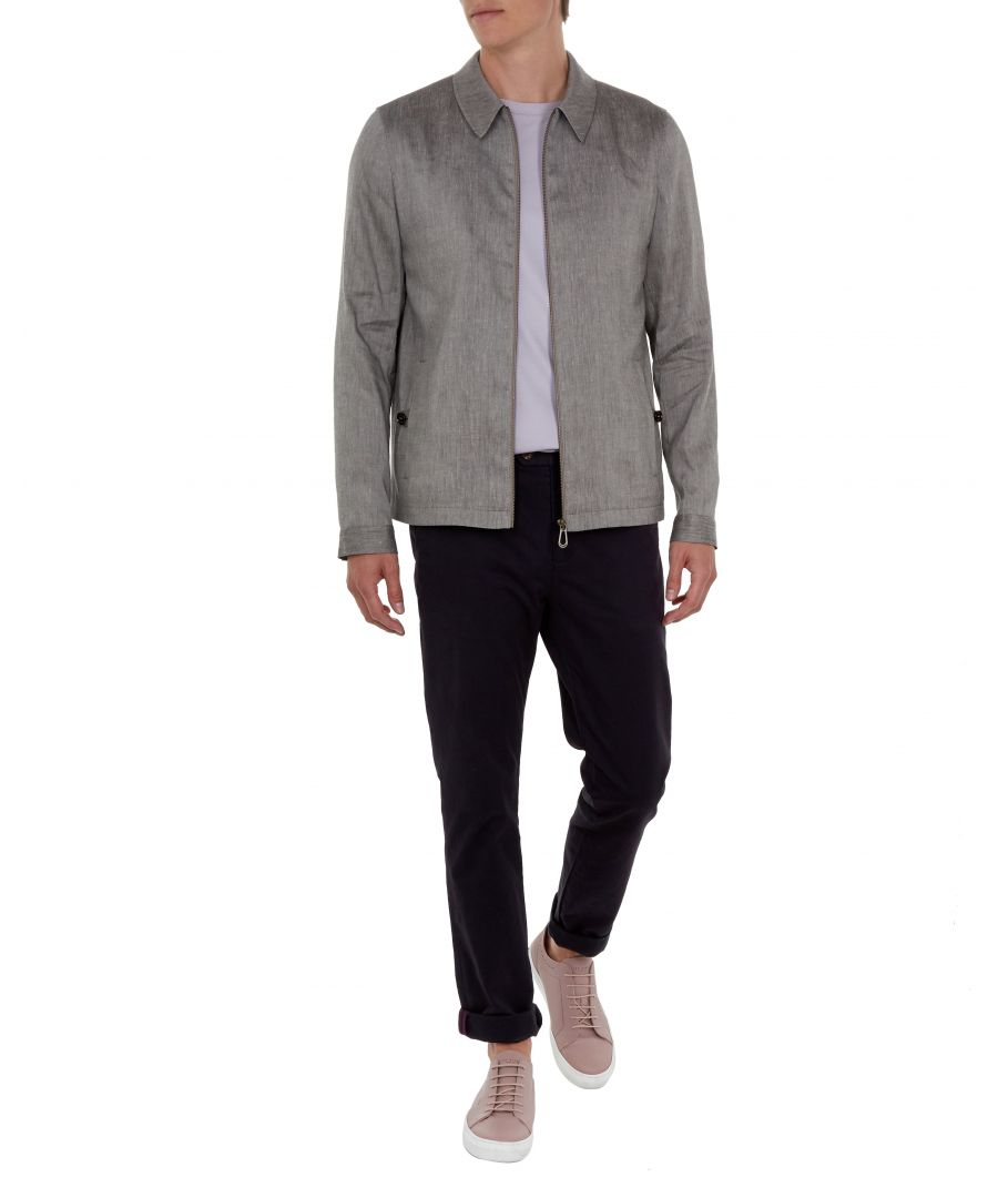 Image for Ted Baker Phily Linen Harrington Jacket, Taupe