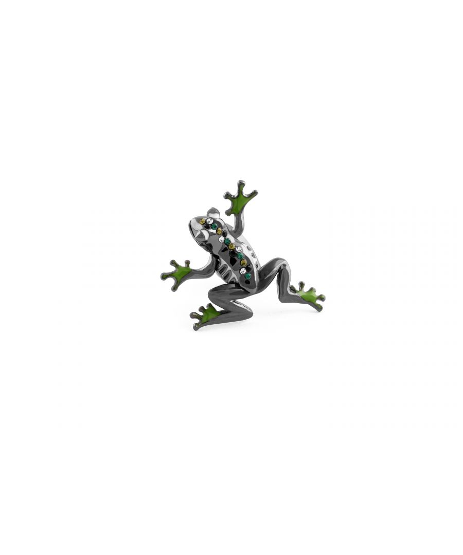 Image for Gun Metal Plated  Enamel  Greens  Swarovskiski  Moving arms and legs  FROG  Mechanical animals