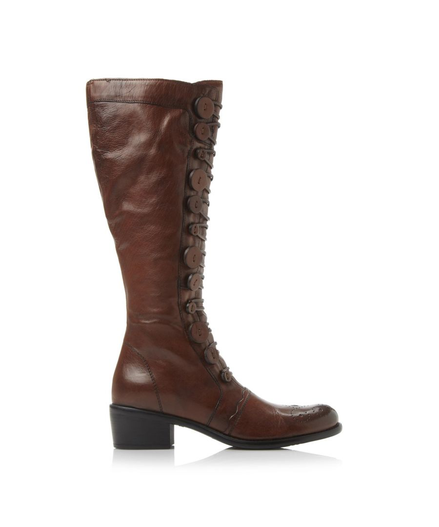 Image for Dune Ladies PIXIE D Button Detail Leather Knee High Boots