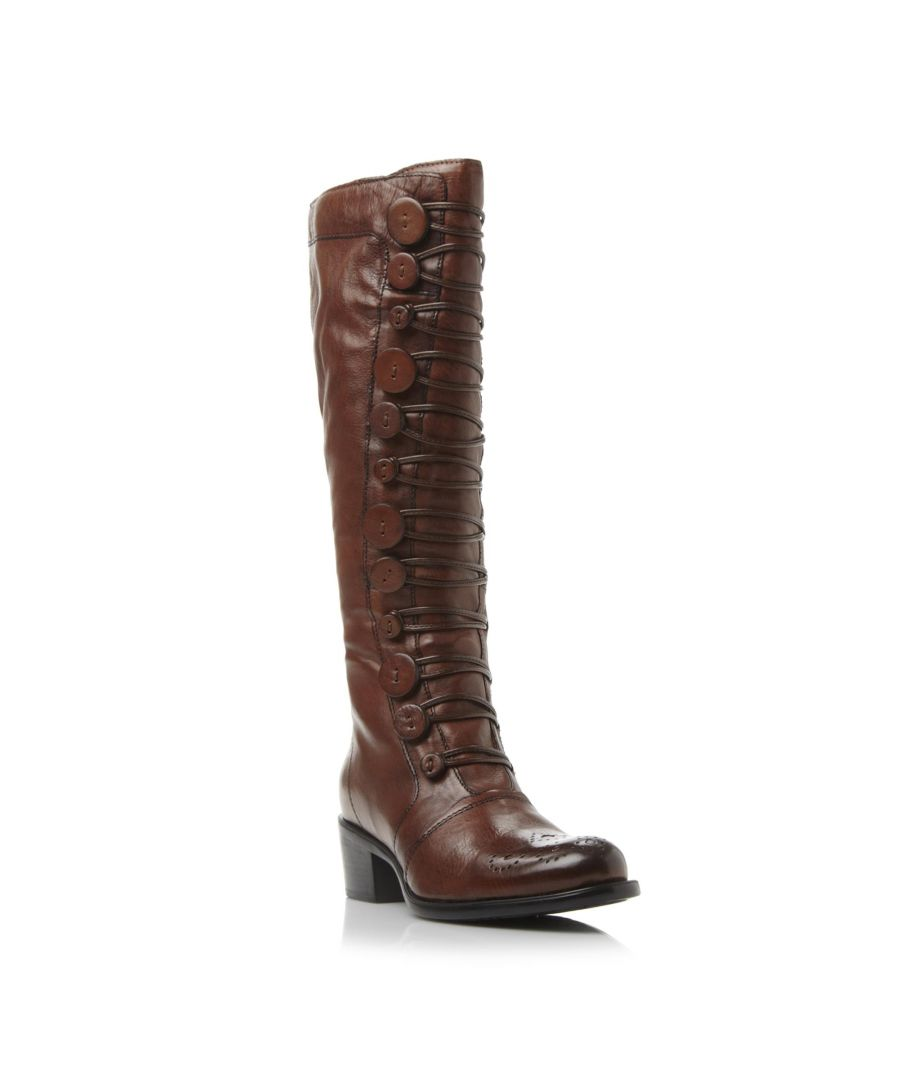 Image for Dune Ladies PIXIE D Button Detail Leather Knee High Boot