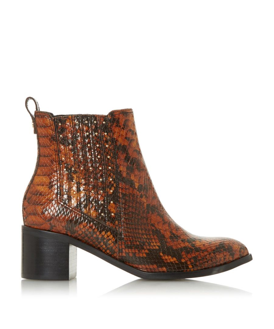 Image for Dune Ladies PLAZA Stud Gusset Mid Block Heel Ankle Boots