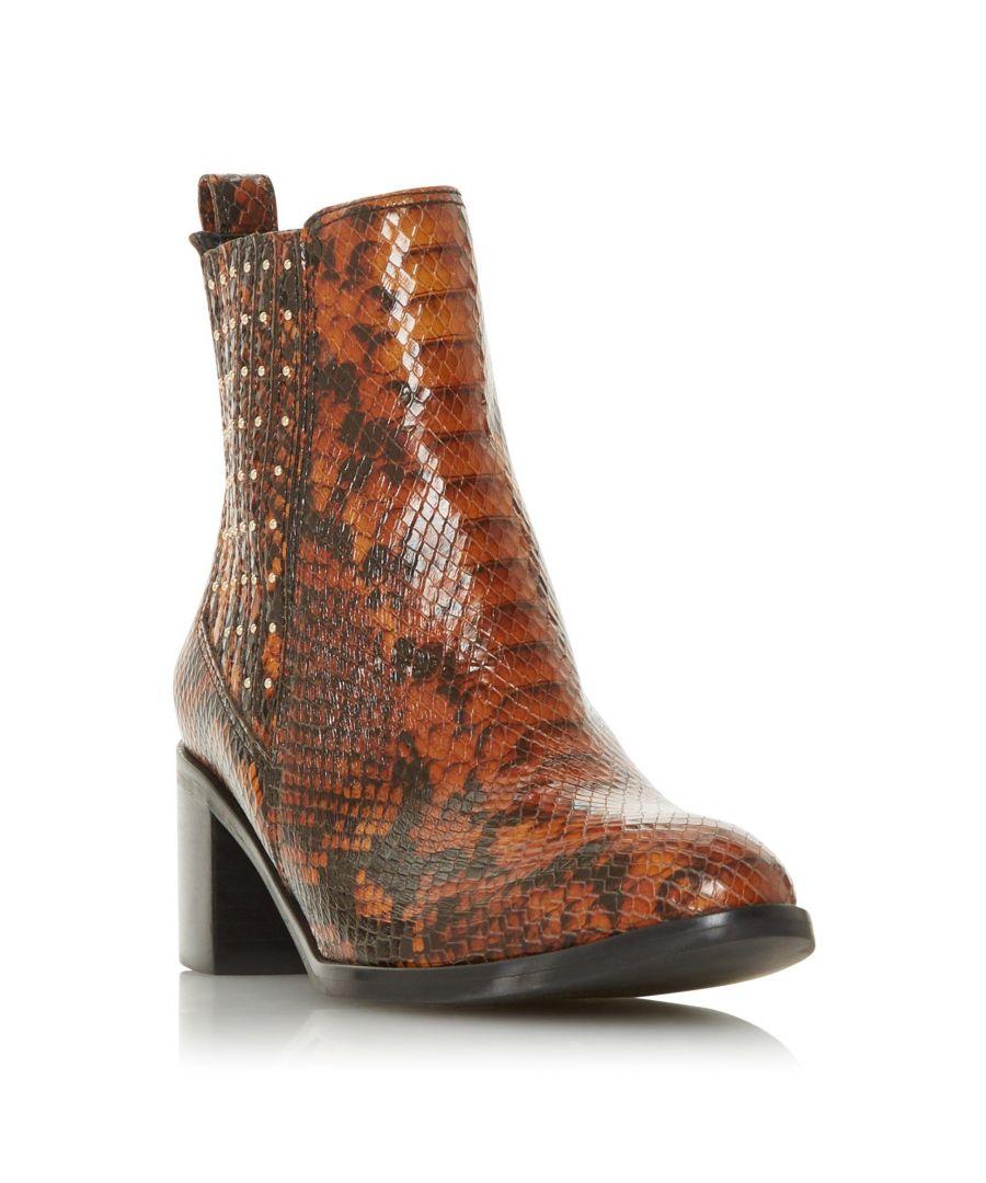 Image for Dune Ladies PLAZA Stud Gusset Mid Block Heel Ankle Boot