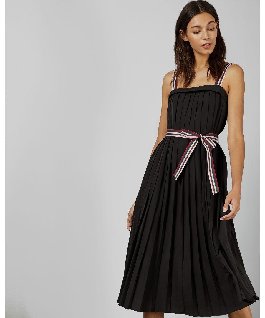 Image for Ted Baker Pleatzi Colourful Grosgrain Midi Dress, Black