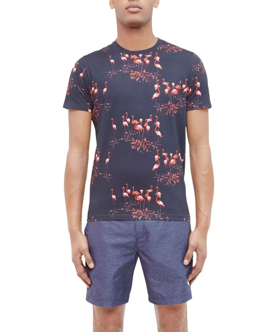 Image for Ted Baker Poket Flamingo Print Cotton Tshirt, Navy