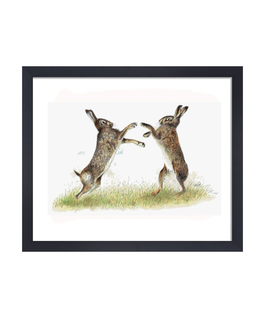 Image for Boxing Hares by Clare Thompson Wildlife Art Print