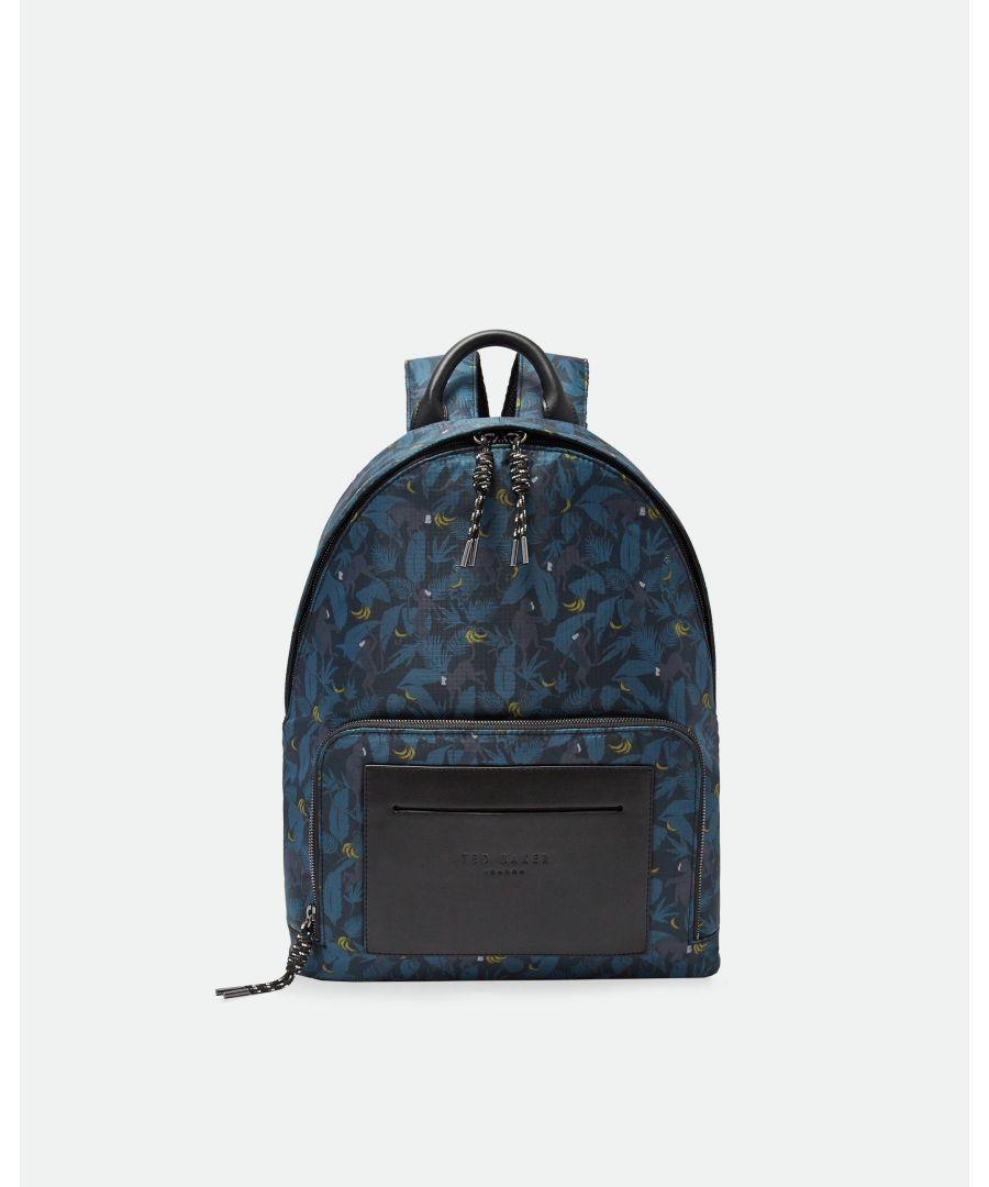 Image for Ted Baker Primate Printed Nylon Backpack, Navy