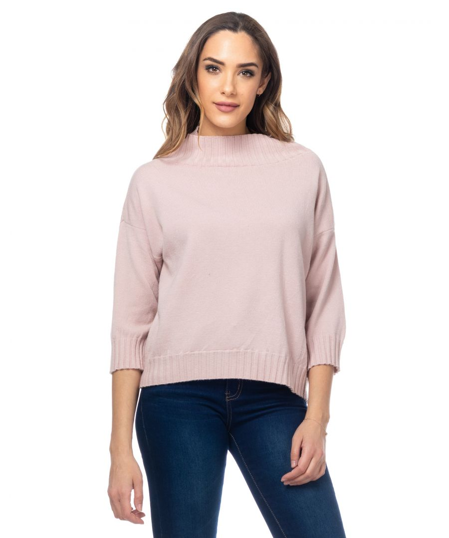 Image for Knitted Sweater With Perkins Neck And French Sleeves