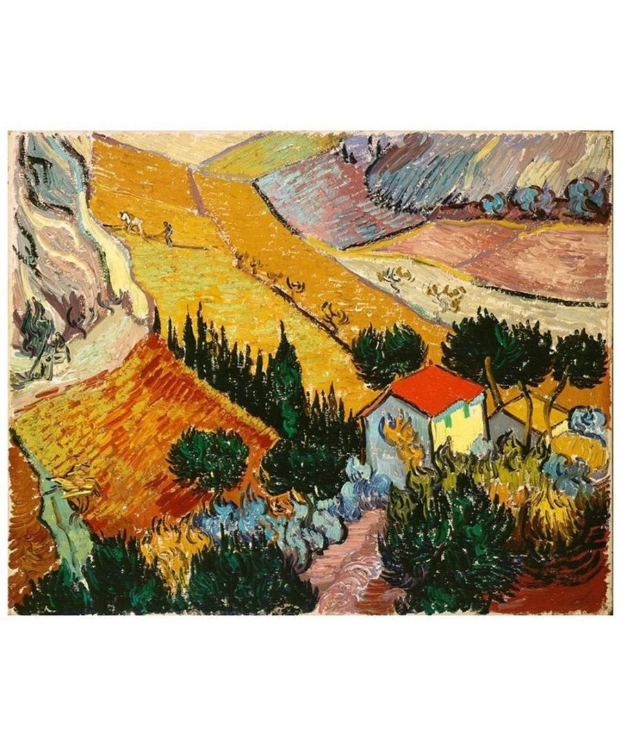 Image for Canvas Print - Landscape With House And Ploughman - Vincent Van Gogh Cm. 80x100