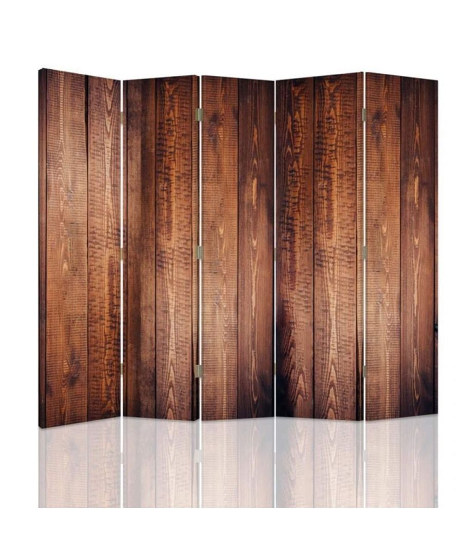 Image for Room Divider Wood Effect - Indoor Decorative Canvas Screen cm. 180x180 (5 panels)