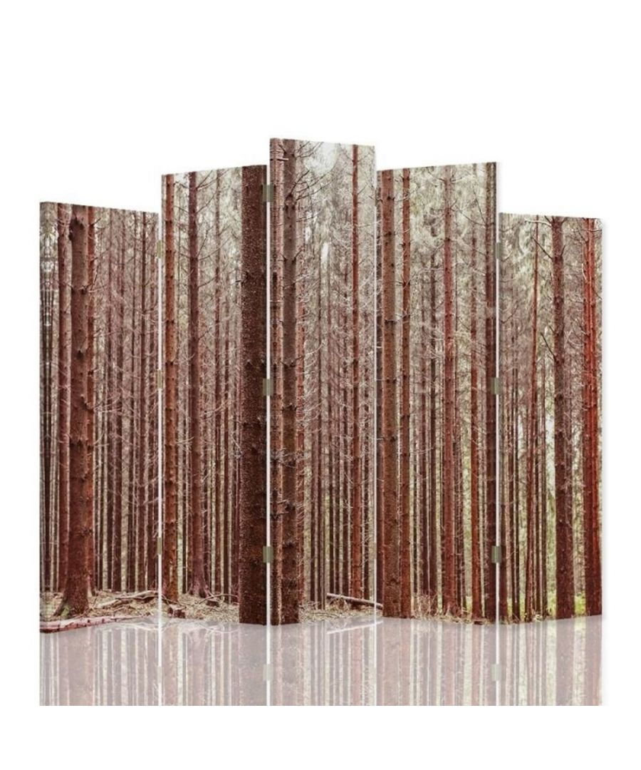 Image for Room Divider Alpine Forest - Indoor Decorative Canvas Screen cm. 180x180 (5 panels)