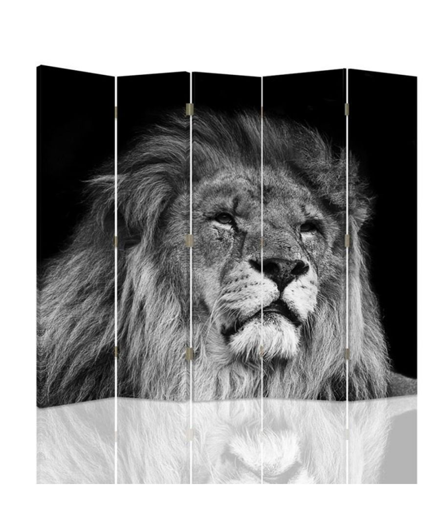 Image for Room Divider Black And White Lion - Indoor Decorative Canvas Screen cm. 180x180 (5 panels)