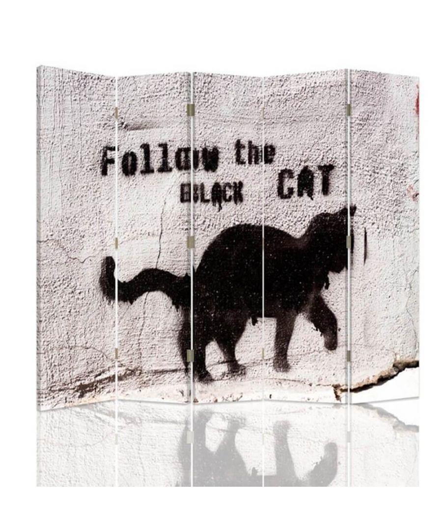 Image for Room Divider Cat Graffiti - Indoor Decorative Canvas Screen cm. 180x180 (5 panels)