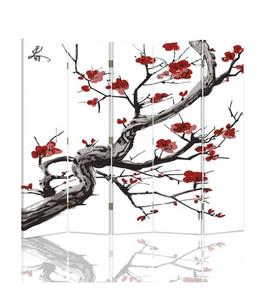 Image for Room Divider Cherry Blossom - Indoor Decorative Canvas Screen cm. 180x180 (5 panels)