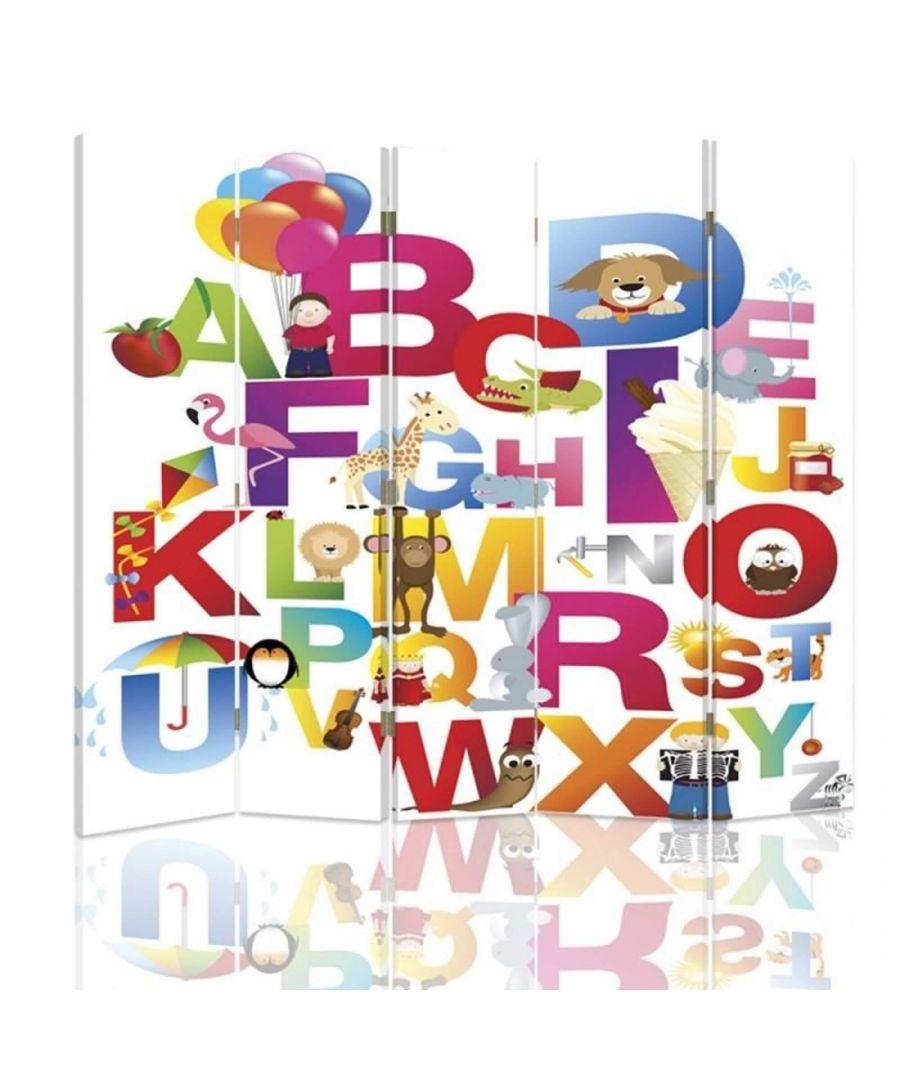 Image for Room Divider Children'S Alphabet - Indoor Decorative Canvas Screen cm. 180x180 (5 panels)