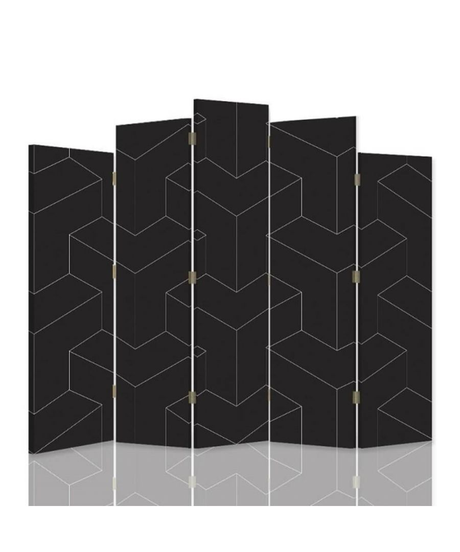 Image for Room Divider Geometric - Indoor Decorative Canvas Screen cm. 180x180 (5 panels)