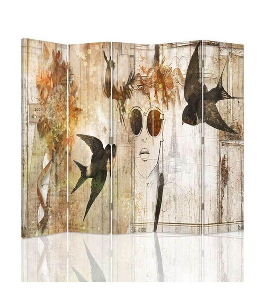 Image for Room Divider Parisian Boho - Indoor Decorative Canvas Screen cm. 180x180 (5 panels)