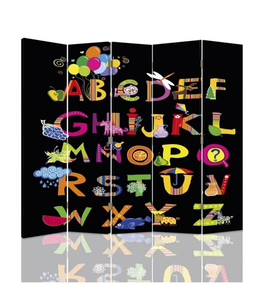 Image for Room Divider Party Time Alphabet - Indoor Decorative Canvas Screen cm. 180x180 (5 panels)