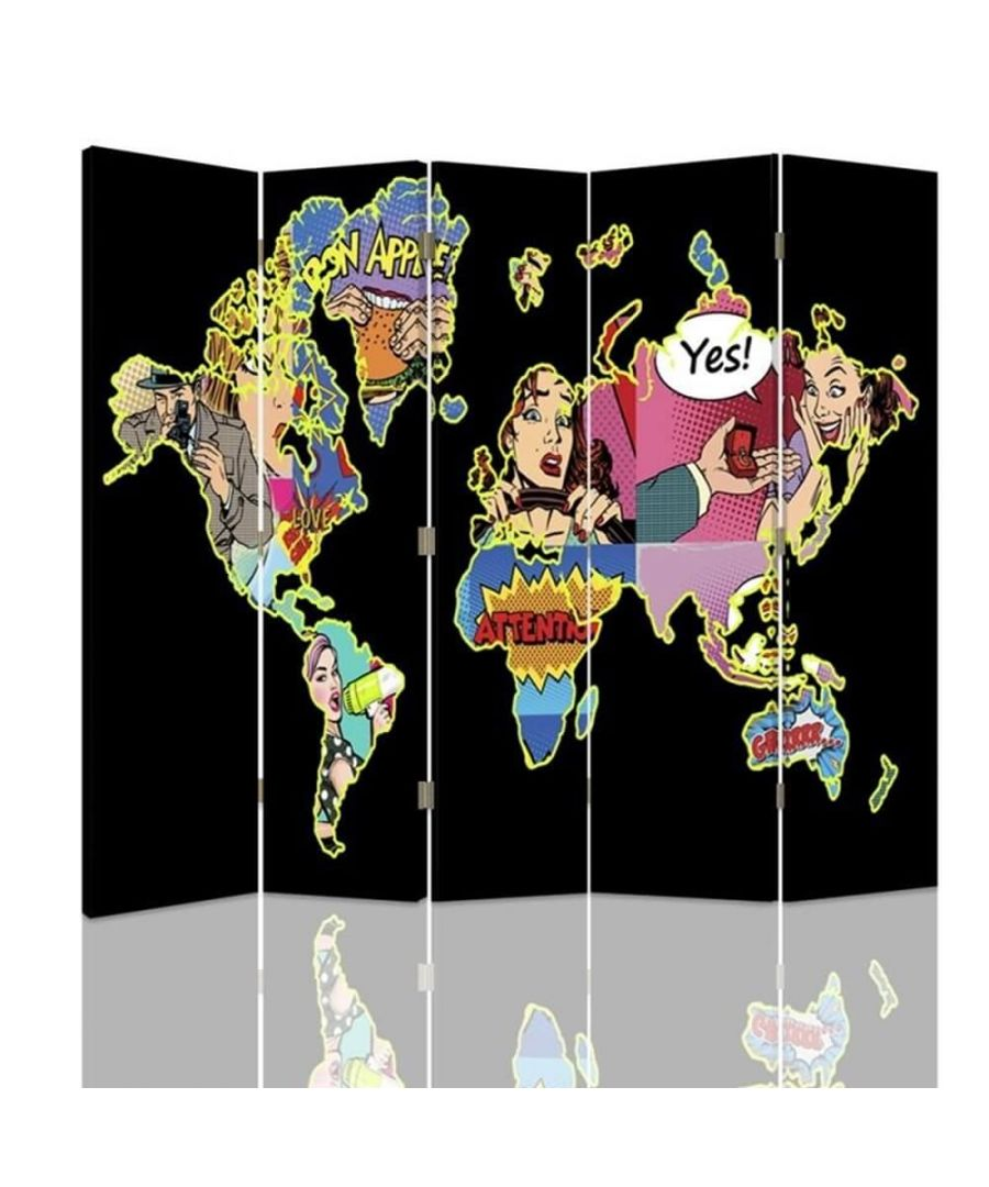 Image for Room Divider Pop Art Map - Indoor Decorative Canvas Screen cm. 180x180 (5 panels)