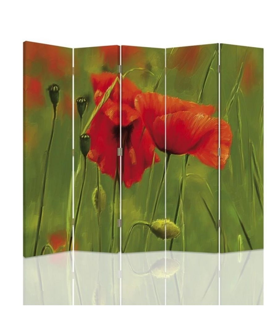 Image for Room Divider Poppy Watercolour - Indoor Decorative Canvas Screen cm. 180x180 (5 panels)