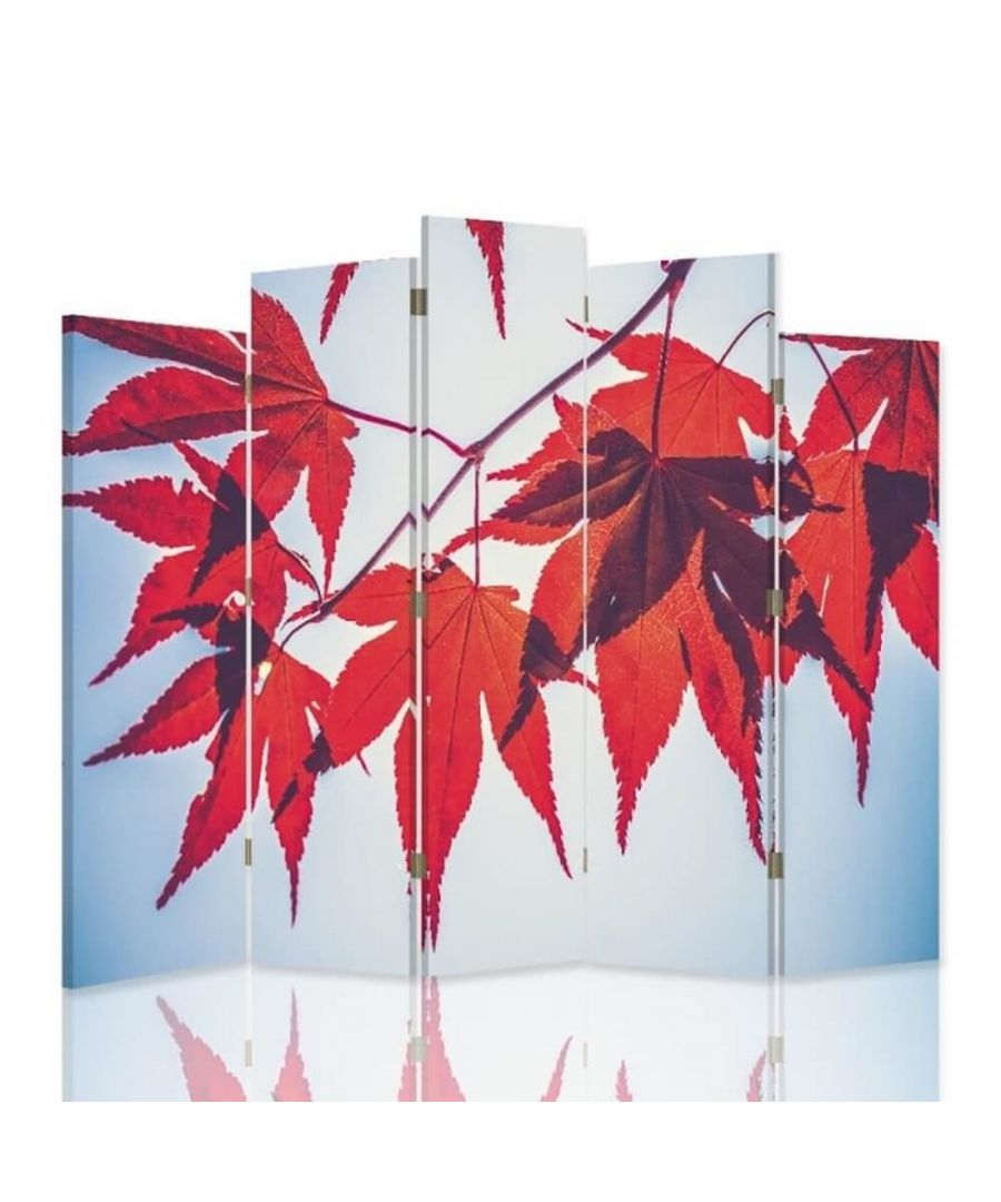 Image for Room Divider Red Autumn - Indoor Decorative Canvas Screen cm. 180x180 (5 panels)