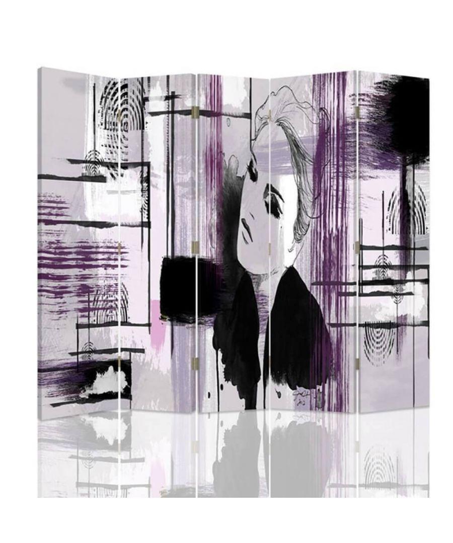 Image for Room Divider Sketch Effect - Indoor Decorative Canvas Screen cm. 180x180 (5 panels)