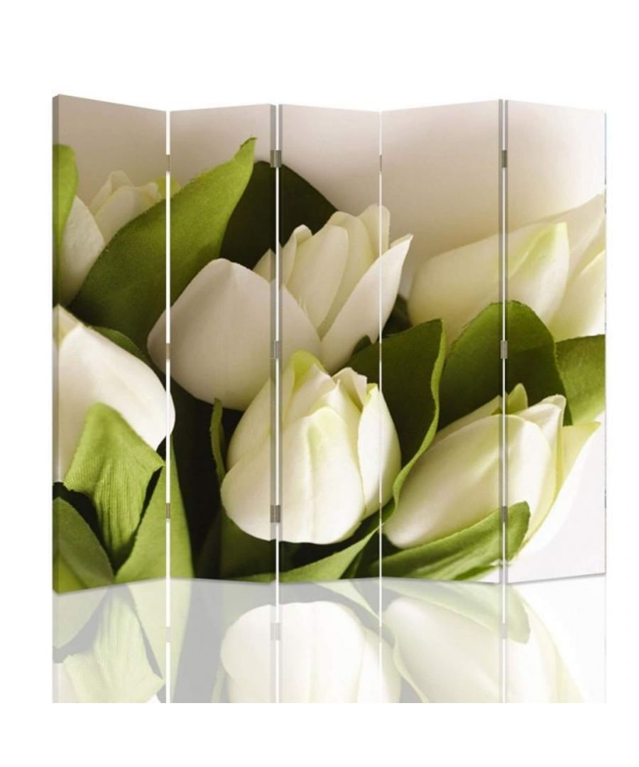 Image for Room Divider White Flower - Indoor Decorative Canvas Screen cm. 180x180 (5 panels)