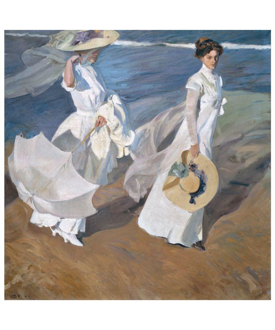 Image for Canvas Print - Strolling Along The Seashore - Joaquín Sorolla Cm. 90x90