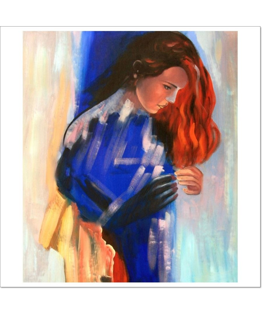 Image for Oil Painting - Thoughtful Girl In Blue Cm. 50x60