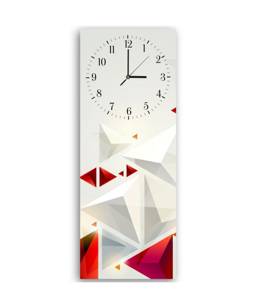 Image for Wall Clock - White And Red Pyramids Cm. 30x90