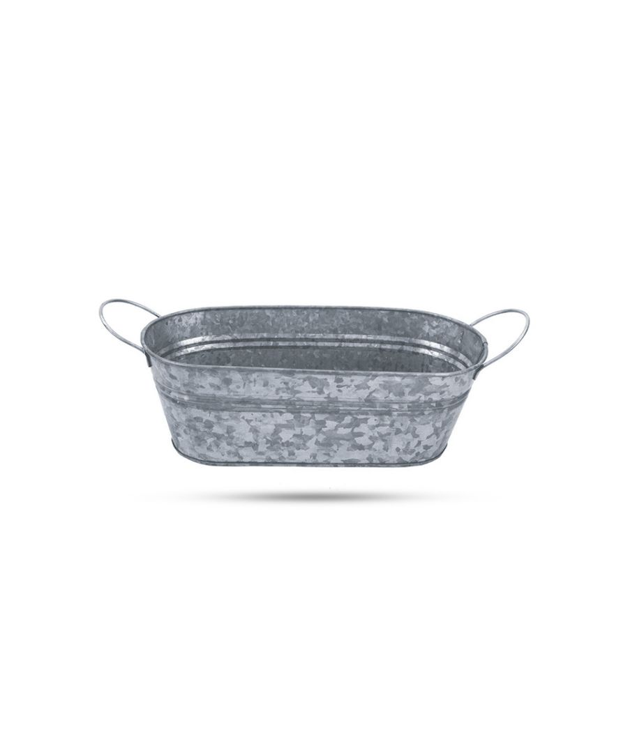 Image for Premium Finish Galvanished Oval Planter With Handle and Hang Tag