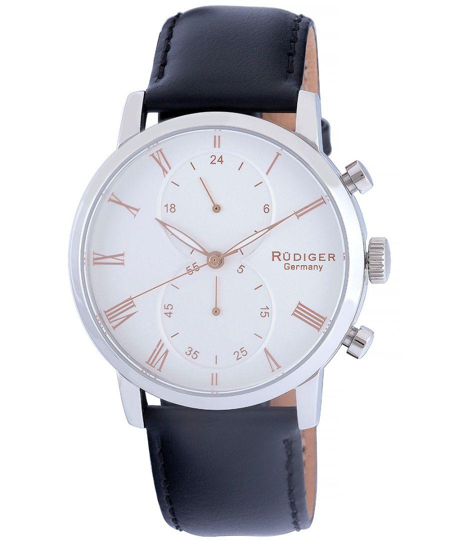 Image for Rudiger Men's R2300-04-001.09 Bavaria White Dial Black Leather Watch